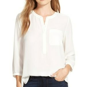 Henley 3/4 length sleeve blouse
